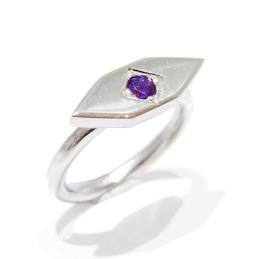 Orchid Proposal ring, quirky amethyst gemstone ring