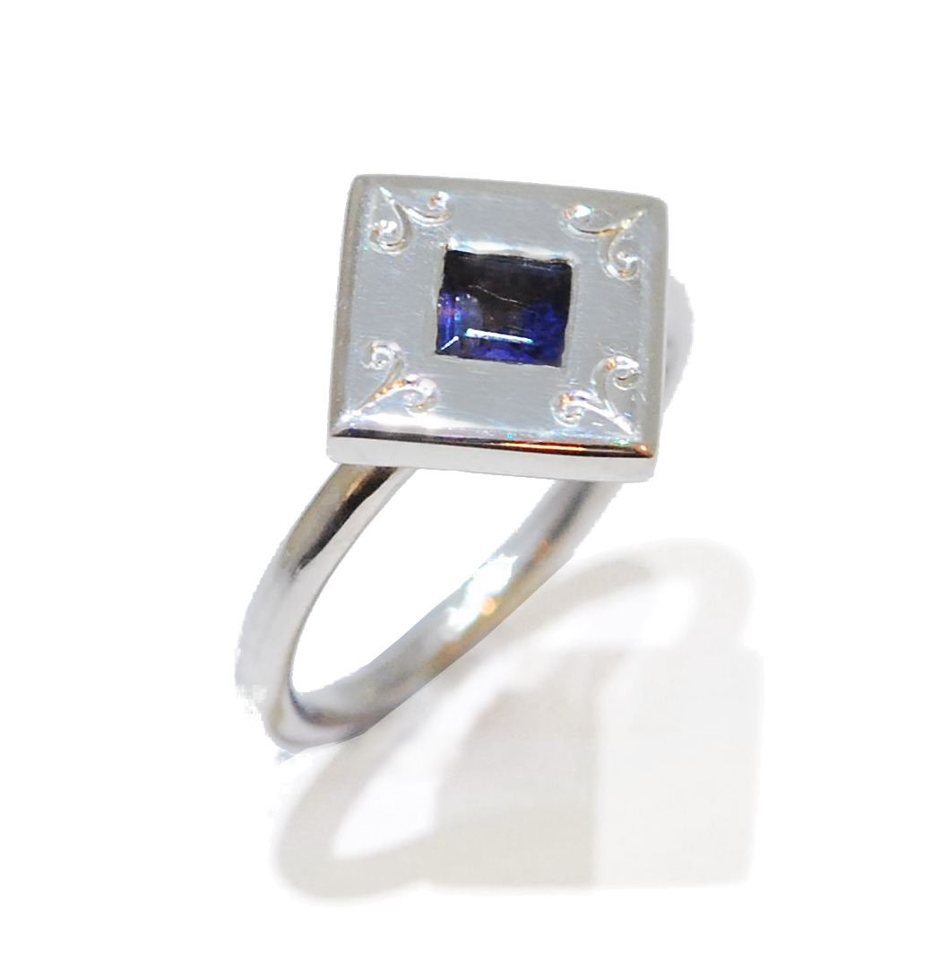 Indigo Gemstone Ring, unusual handmade iolite gemstone ring