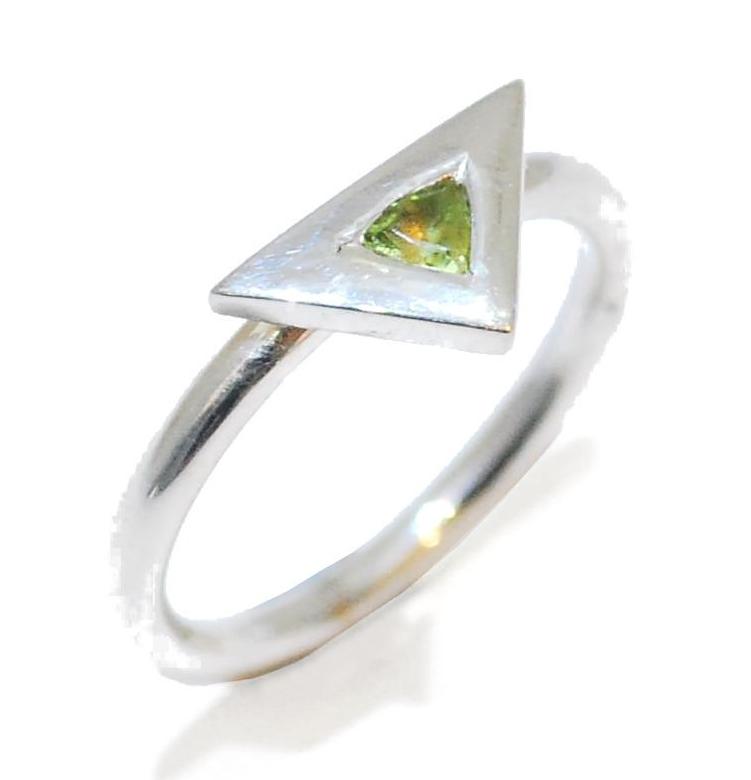 Harlequin Proposal Ring, unusual handmade perridot gemstone ring