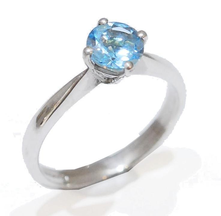 Skyward, blue topaz gemstone Proposal Ring