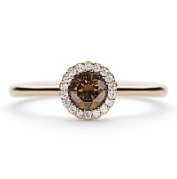 rose gold canele with brown diamond designer engagement ring