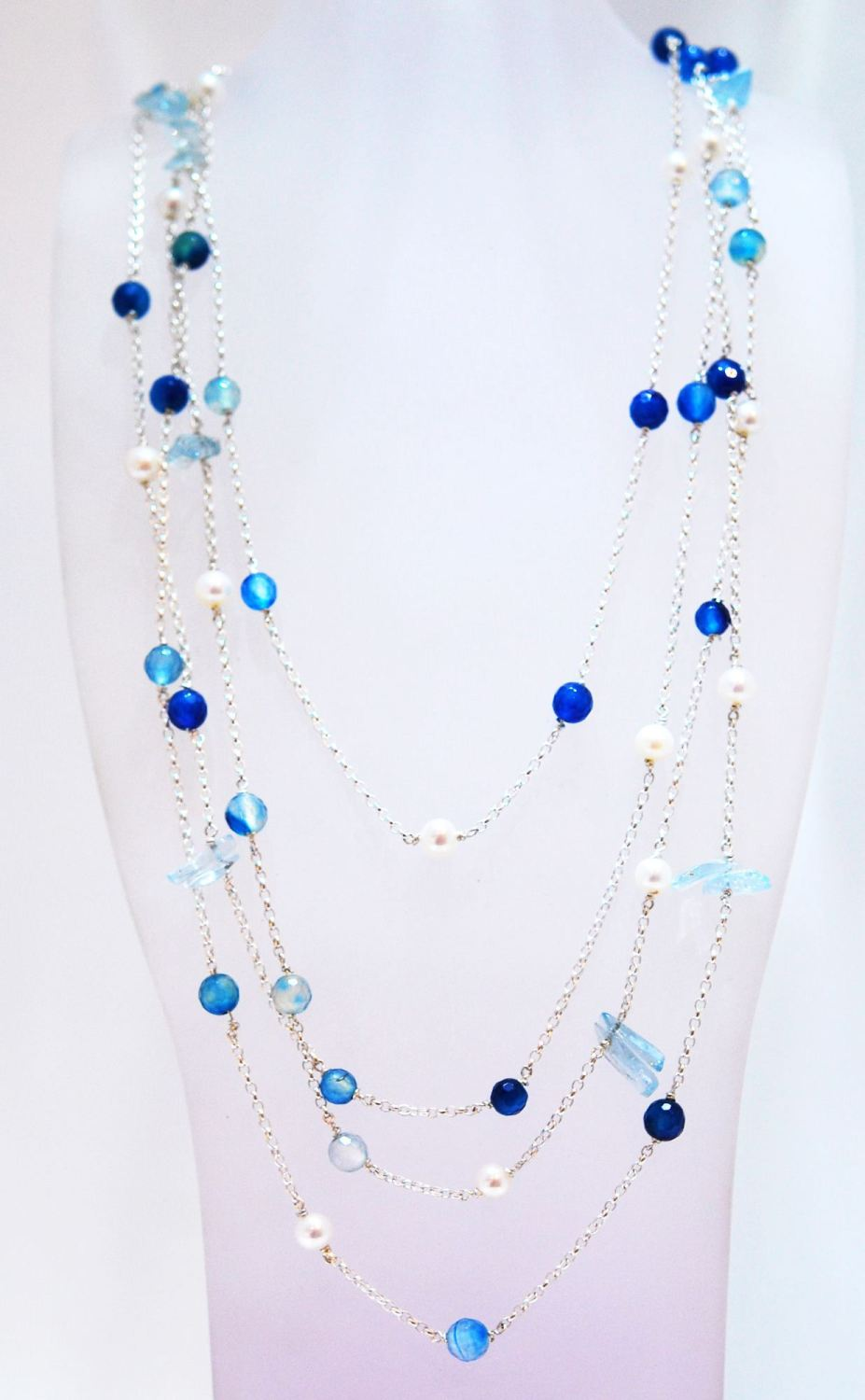 Aquamarine and Pearl Rainbow Rocks Necklace