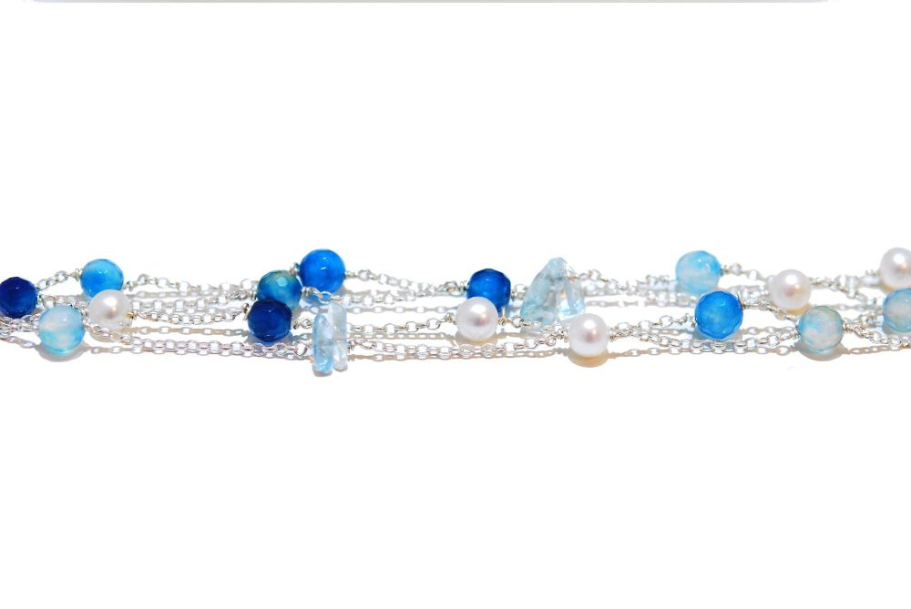 Aquamarine and Pearl Rainbow Rocks Bracelet