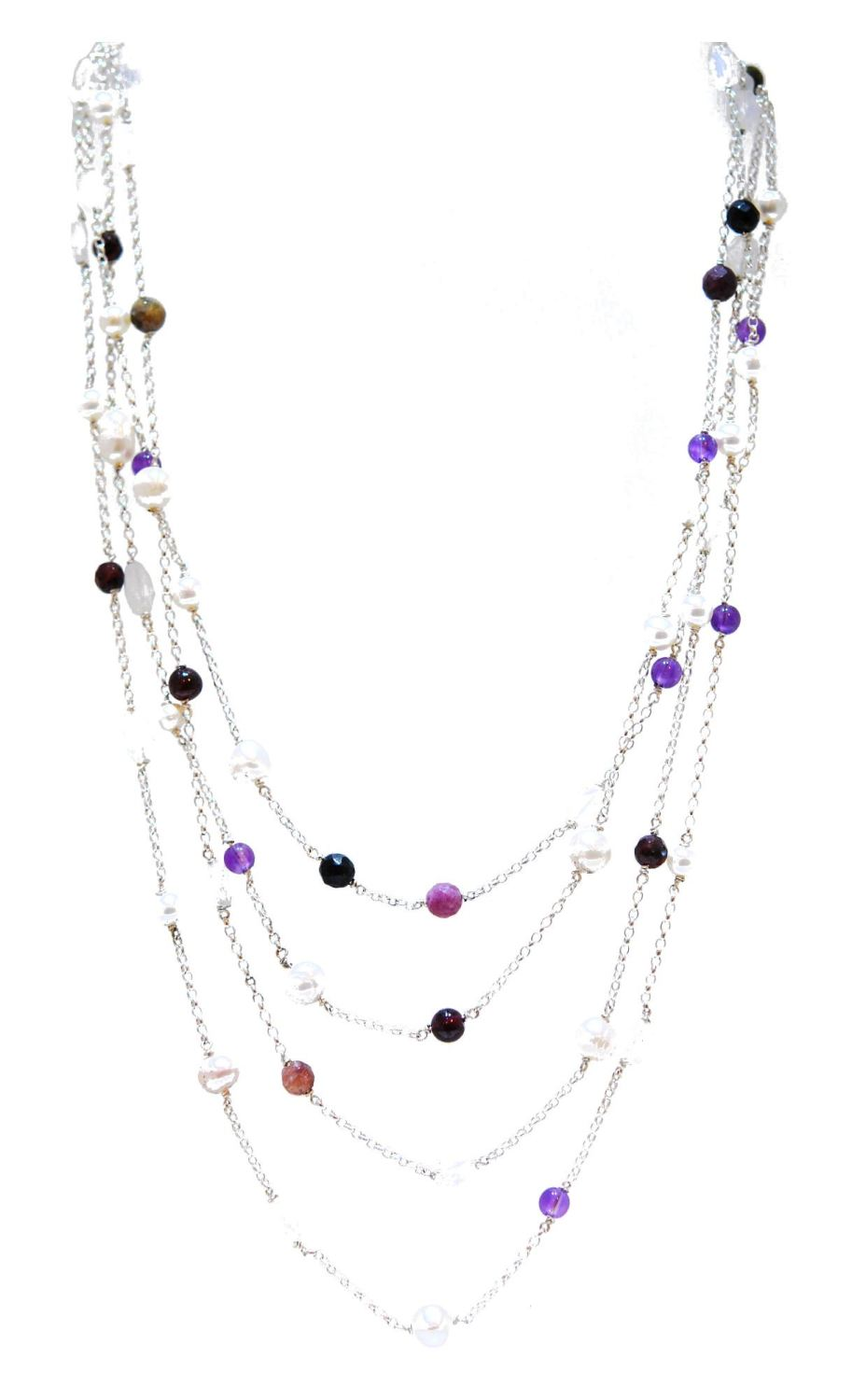 Amethyst And Pearl Rainbow Rocks Necklace