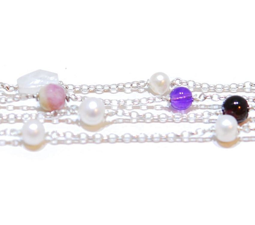 Tourmaline and Moonstone Ranbow Rocks Bracelet
