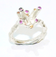 Quirky citrine and rhodalite gemstone cluster ring
