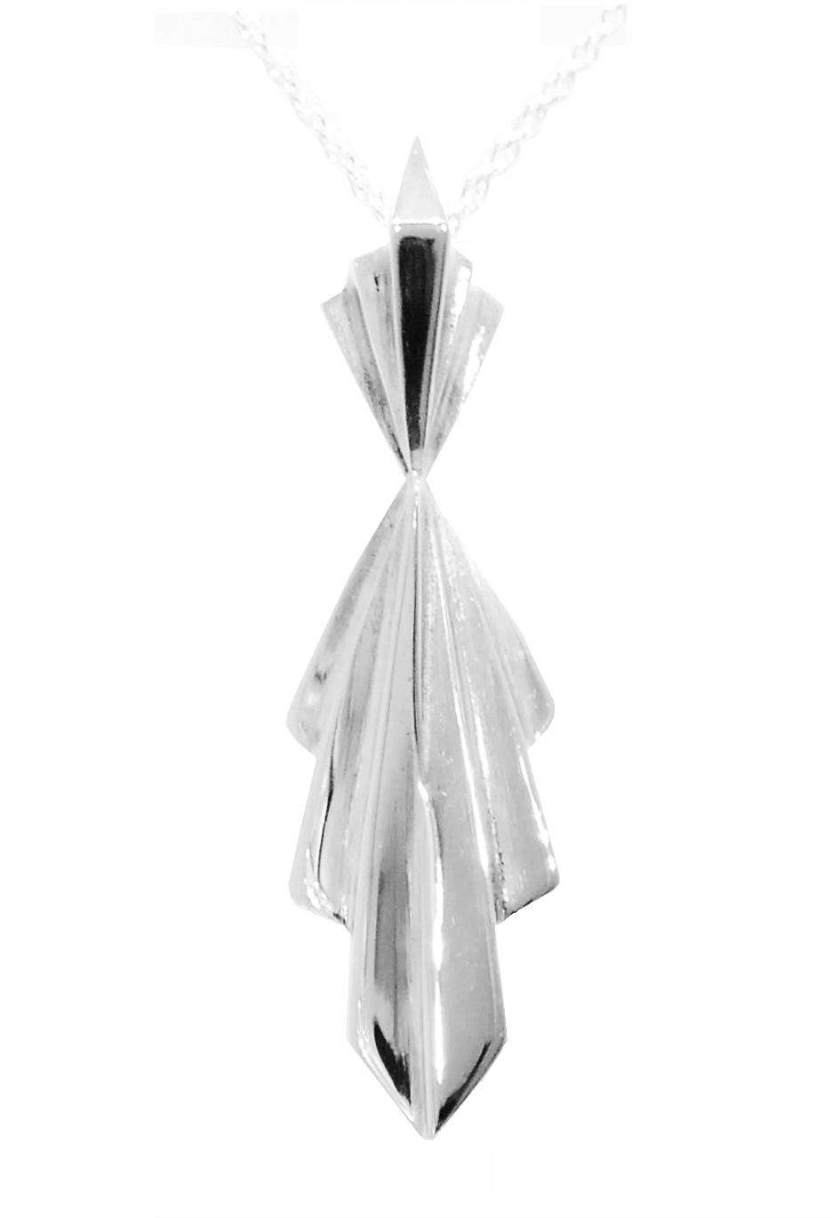Art Deco Style Silver Pendant (Long)
