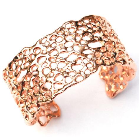 Contemporary rose gold cuff, designer jewellery by La Corza