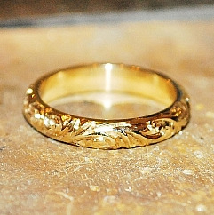 bespoke wedding rings London, handmade and unique designer wedding rings - yellow gold