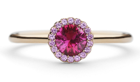 Ruby with pink sapphire gemstone engagement ring by award-winning jewellery designer Andrew Geoghegan