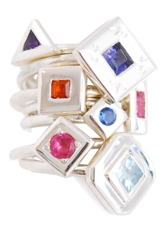 proposal rings group image, stack of handmade unique gemstone rings