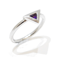 Unusual, handmade and unique triangle amethyst gemstone propsal ring, temporary engagement ring