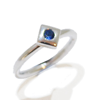 small simple handmade sapphire gemstone alternative engagement ring
