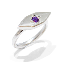 handmade and unique amethyst gemstone ring diamond shaped proposal ring, temporary engagement ring