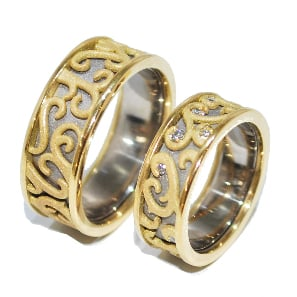 bespoke yellow and white gold floral wedding ring set