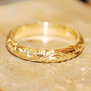 Bespoke unique carved ornate yellow gold wedding ring