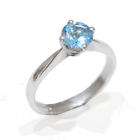 blue topaz gemstone proposal ring, temporary engagement ring