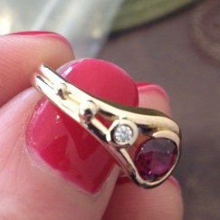 Kelly's bespoke ruby and diamnond engagement ring