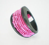 Pink Rain Ring - Oxidised Silver Ring