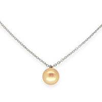 Single peach pearl necklace, modern and dainty (es)