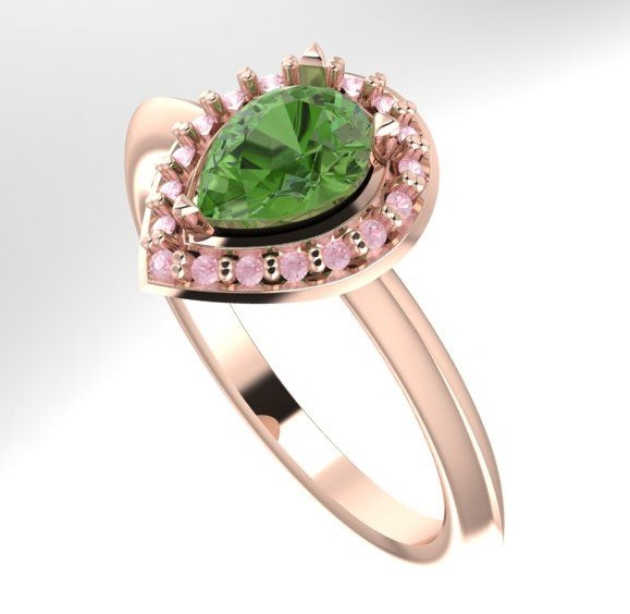 gemstone engagement ring, unique engagement ring from nude jewellery