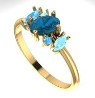 Atlantis engagement ring blue yellow