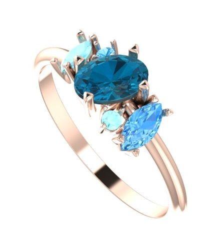 Atlantis blue, unusual gemstone engagement ring, unique engagement ring