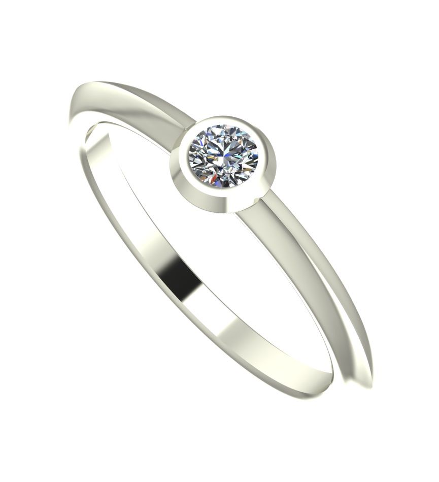 Lucy. Diamond and White Gold contemporary engagement ring