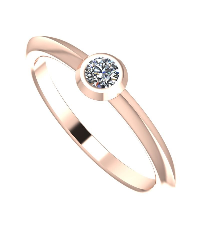 Simple, minimal diamond and rose gold engagement ring
