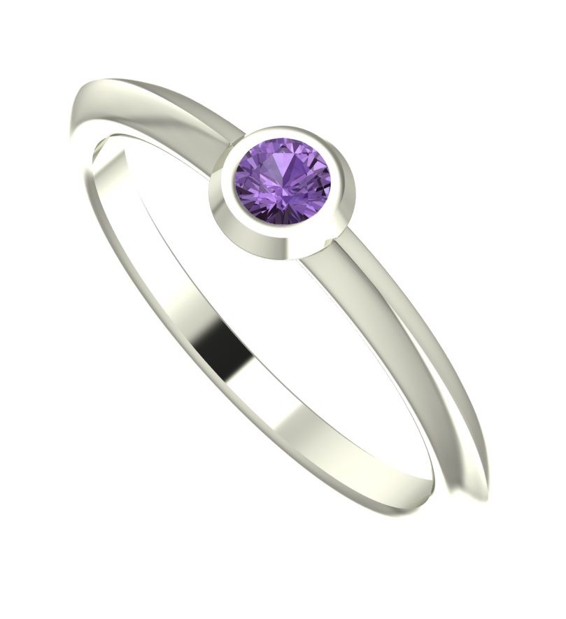 Violet sapphire and white gold  ring