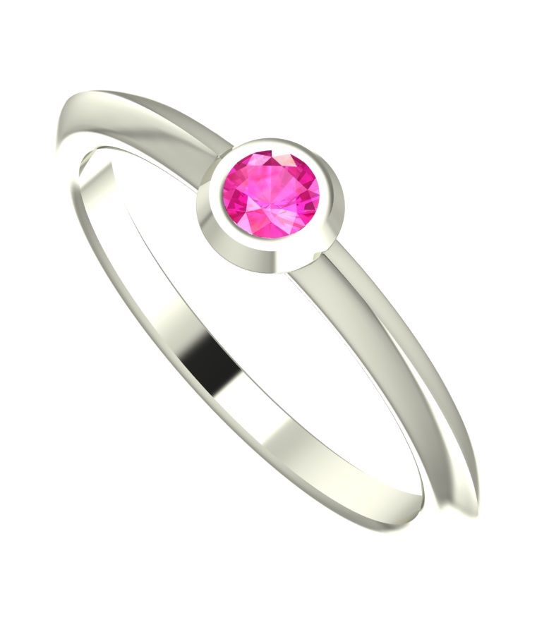 Simple pink sapphire set in white gold minimal ring