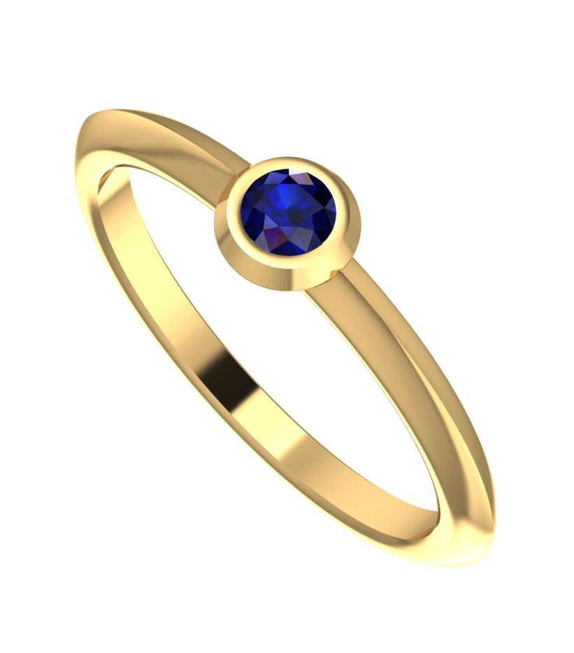 Lucy, Blue Sapphire and Yellow Gold Engagement Ring