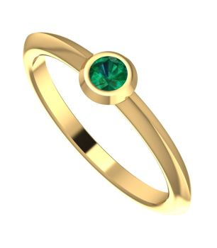 Lucy, Yellow Gold and Emerald Engagement Ring