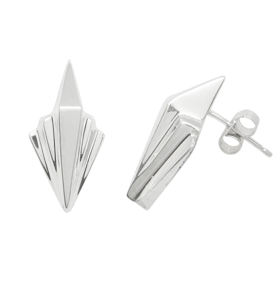 Small Art Deco Style Silver Earrings