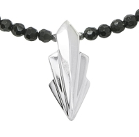 Large Art Deco Silver Necklace and Onyx gemstones (2)