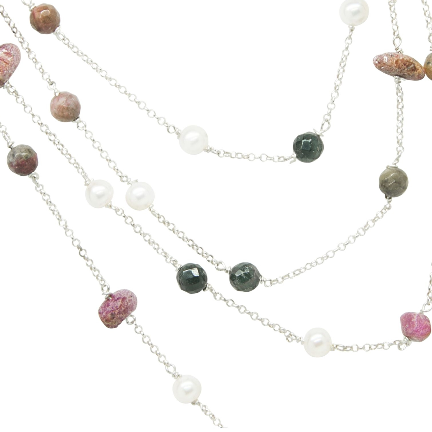 ruby,  tourmaline and pearl necklace