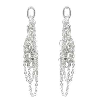 Silver Multi Chain Drop Earrings