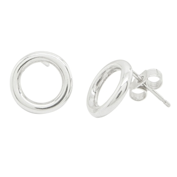 Vanilla Links Earrings, Handmade Silver Studs