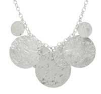 Silver Glitter Ball Multi Disc Necklace