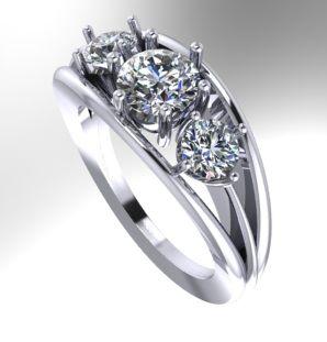 Diamond 3 stone engagement ring