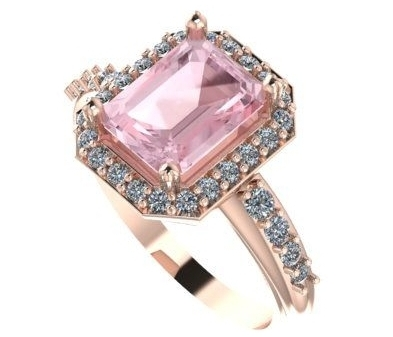 A bespoke engagement ring using a Morganite and diamonds