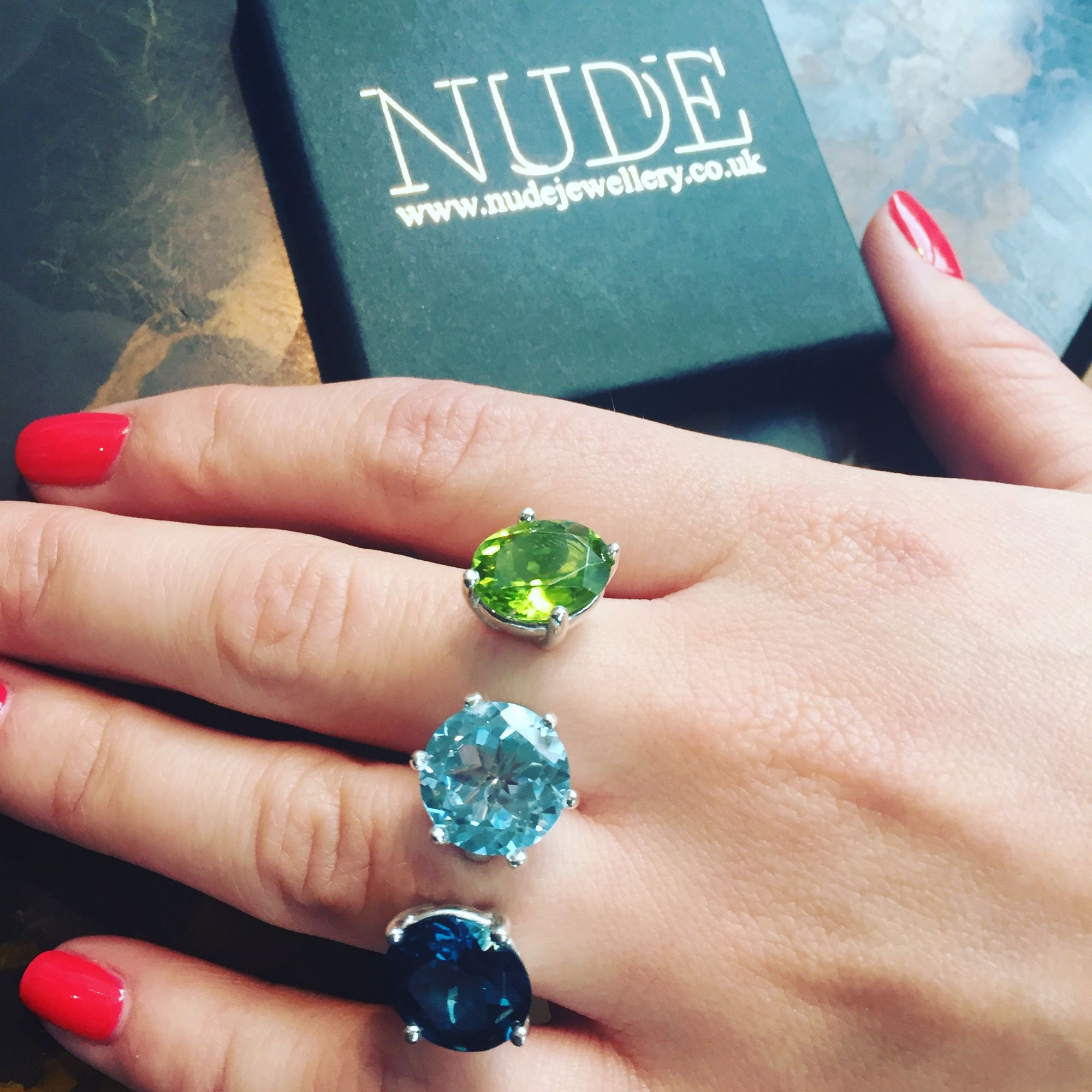 Quirky, bespoke triple gemstone, double finger ring.