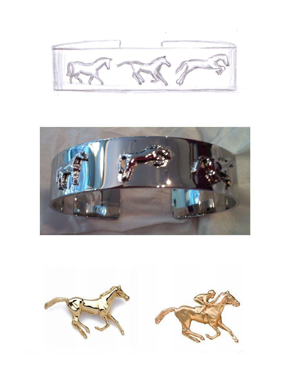 bespoke white gold horse cuff