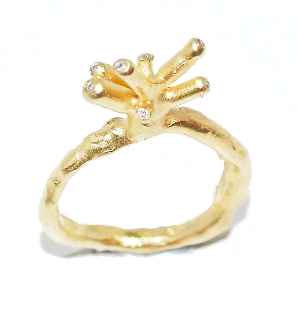 quirky and unusual gold and diamond organic  engagement ring