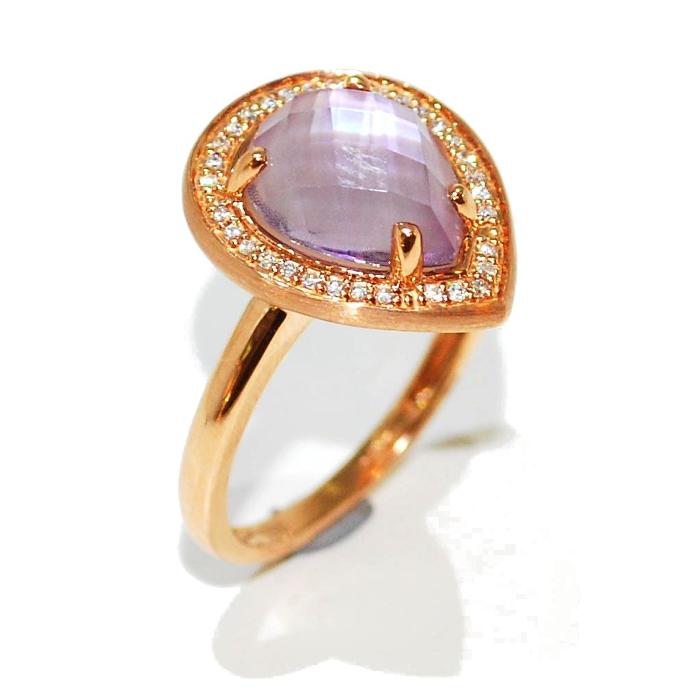 rose gold ameythst and diamond ring