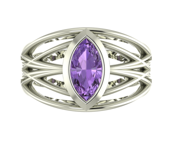 Infinity Enagement Ring with Violet Sapphire Gemstone