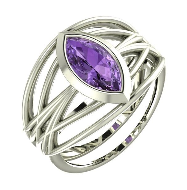 white gold and amethyst ring