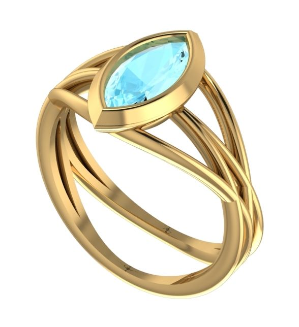 Aquamarine, modern and unusual Infinity gold engagement ring