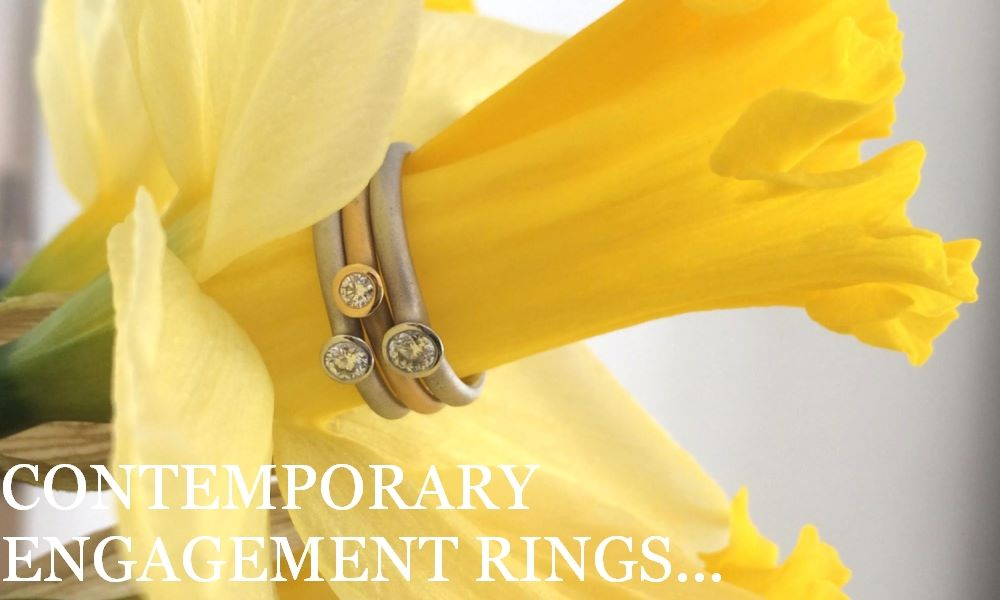 Contemporary engagement rings, diamond engagement rings