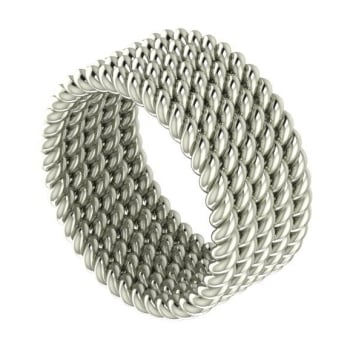 Twisted Up - 5 strand ring (white gold) wedding ring